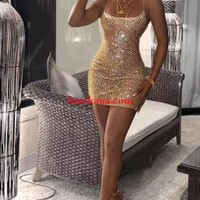 Drop Of Gold Glitter Dress(Ready to ship)