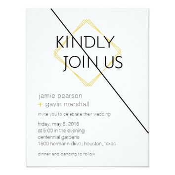 Ultra Modern Gold & Black Wedding Invitation