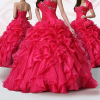 New Red Organza Prom Dress Ball gown Party Ball Pgeant Dresses Bridal GownCustom
