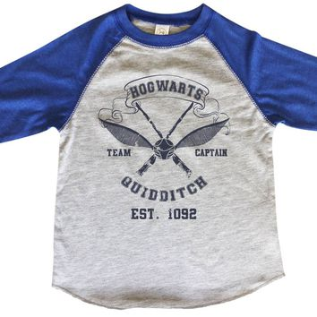 Hogwarts Team Captain Guidditch Est. 1092 BOYS OR GIRLS BASEBALL 3/4 SLEEVE RAGLAN - VERY SOFT TRENDY SHIRT B369