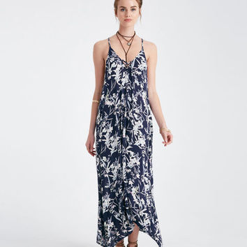 Printed Lace-Up Neck Woven Maxi Dress | Wet Seal