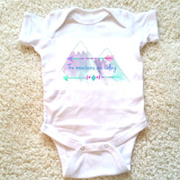 The mountains are calling quote baby Onesuit for newborn, 6 months, 12 months, and 18 months graphic baby Onesuit