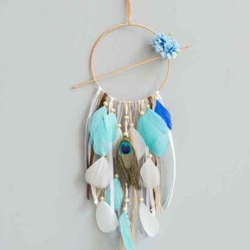 Creative blue dream dream catcher ornaments Indian style feather home car hanging Amazon explosions