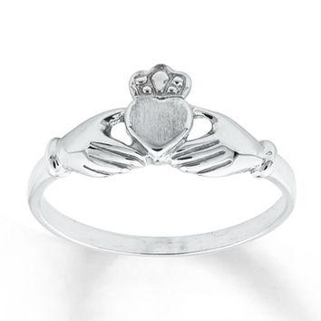 Women's Claddagh Ring 14K White Gold