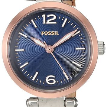 DCCK8TS Fossil Georgia Three-Hand Leather Watch