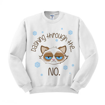 Dashing Through The No Grumpy Cat Crewneck Sweatshirt