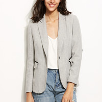 Grey Chevron Tweed Blazer With Elbow Patch -SheIn(Sheinside)