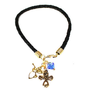 Black Leather Cord Bracelet with Gold Victorian Cross, Angel, and Capri Blue Swarovski Crystal