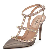 Rockstud 100mm Strappy Pebbled Leather Pump, Sasso/Poudre