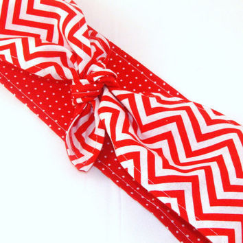 Head Scarf, Red Chevron with Red and White Polka Dots Rockabilly Pin Up Headscarf Headband Bandanna