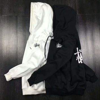 Stussy Casual Fashion Sport Monogram Print Long Sleeve Hooded Sweater G-A-GHSY-1