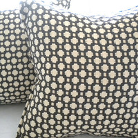 Luxury Designer pillow cover BOTH SIDES Charcoal and Ivory/Ecru Self  Welt 18 x 18