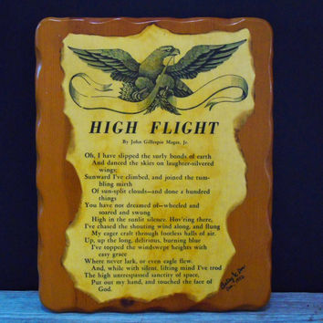 Wall Hanging Plague High Flight by John Gillespie Magee Lacquered Decoupage Wood Aviation Poem