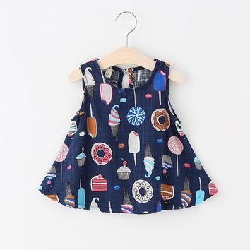 Cute Baby Girls Clothes 2018 Summer Baby Girl Dress Pineapple Infant Dress Newborn Cotton Lace Ruffles Kids Dresses for Girls navy