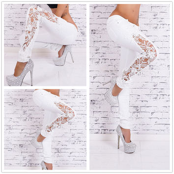 Plus Size Lace Patchwork Slim Straight Low Waist Jeans