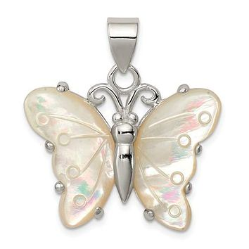 Sterling Silver White Shell Butterfly Pendant