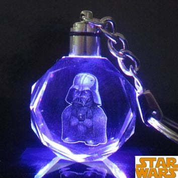 Star Wars Colorful Crystal Frozener LED Key Chain Darth Vader Stormtrooper BB-8 Droid Robot Keychain Illuminated Keyring ZKSWCP