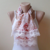 Multicolor lace  scarf   ivory in shades of orange and brown lace modern scarf
