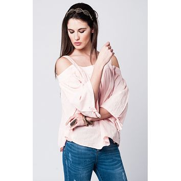 Off Shoulder Pink Lace Top With Angel Sleeves