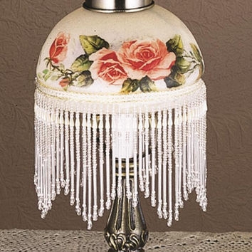 Meyda Tiffany 13.5 Inch Rosebush Fringed Mini Lamp