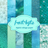 12 Magical Mermaid Textures - digital files for instant download - aqua sea themed