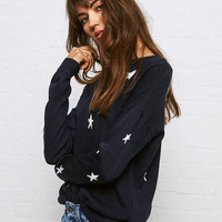 Don't Ask Why Star Print Sweater, Navy