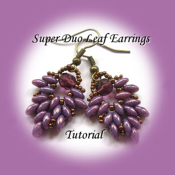 PDF Tutorial Superduo Leaf Earrings, Beading Pattern