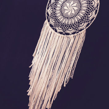 Large White Dream Catcher/ Crochet Doily Dream Catcher/ Handmade Dream Catcher