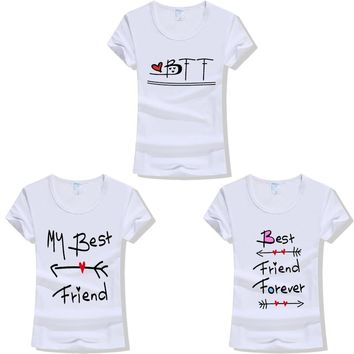 2018 Best Friend Forever Letters Printed T-Shirt BFF T Shirt Women Fashion Casual Tee Shirt Femme