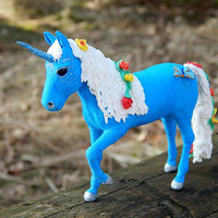Blue unicorn figurine skulpture, unicorn handmade of clay,  fantasy mythical creatures, blue fantasy animals, collectible figurine