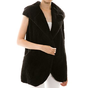 Faux Fur Soft Fleece Open Front Long Hooded Ripped Side Vest Cardigan