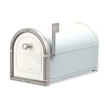 Architectural Mailboxes 5504W Coronado White Mailbox with Antique Nickel Accents (Clearance Priced)