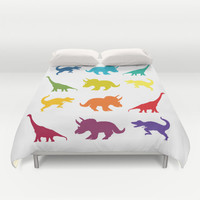"Dinosaur Duvet Cover or  Comforter,  ""dinosaur parade"" comforter, kids childrens, jurassic, cretaceous bedroom decor"