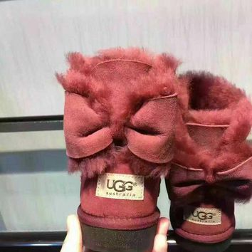 """UGG"" Women male Fashion Wool Snow Boots Wine red"