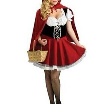 ONETOW MOONIGHT New Fairy Tales Little Red Riding Hood Costume Women Halloween Party Fancy Dress S-4XL
