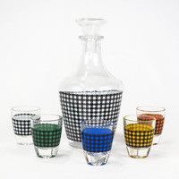 Mid Century French Houndstooth Decanter Set Aperitif Cocktail Glasses Verrerie Cristallerie D'Arques