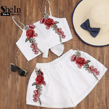 Two Piece Rose Embroidered Chiffon Bow Tie Top & Loose Shorts Summer Set