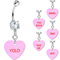 Crystalline Gem Pink Custom Conversation Heart Belly Ring | Body Candy Body Jewelry
