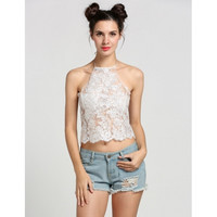Sexy Women Halter See-through Mesh Embroidery Backless Tank Crop Tops