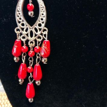 Red Beaded Dangling Earrings Silver Colored Accent