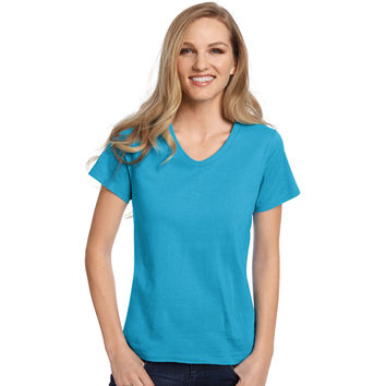 Hanes Relaxed Fit Womens ComfortSoft V-neck T-Shirt