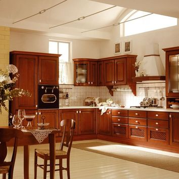 Linear cherry wood kitchen TAYLOR Traditional Collection by Aran