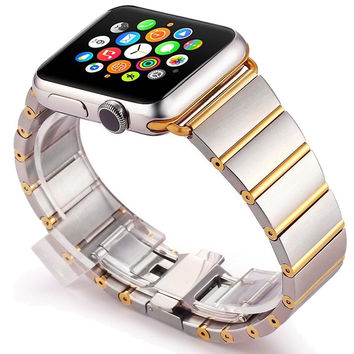 Apple Watch Band 42mm Gold Stainless Steel iWatch Band Strap Polishing Metal ...
