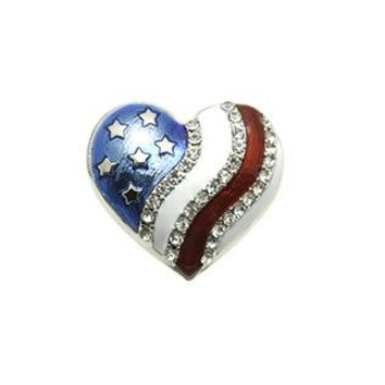 Epoxy Coated Metal Heart Red White And Blue Star Spangled Banner Patriotic Pave Crystal Stone Pin And Brooch