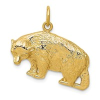 14k Yellow Gold 25mm Polished Textured Bear Pendant