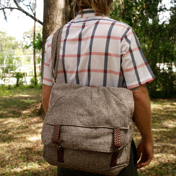 Tweed 3way Backpack Attache Messenger Laptop Bag-mens diaper bag- custom order-