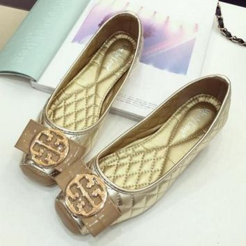 """Tory Burch""Trending Women Stylish Summer New Bowknot Flat Soft Soles Sandals Shoes Doug Shoes Golden"