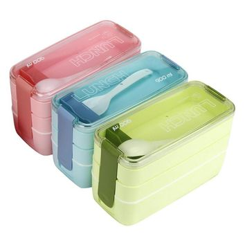 Saingace 3 Layer Plastic Popular Lunch Food Containers Storage Solid Funny Picnic Travel Use Candy Color Happy Sale ap511