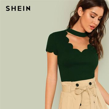 SHEIN Green Elegant Mock Neck Scallop Trim Tee Cut Out V Collar Solid Tee Summer Women Weekend Casual T-shirt Top