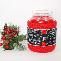 Yankee Candle Jar Holder - Christmas Candle Holder - Crochet Christmas Decorations - Crochet Candle Cozy - Gifts under 10
